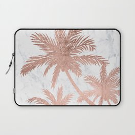 Tropical simple rose gold palm trees white marble Laptop Sleeve