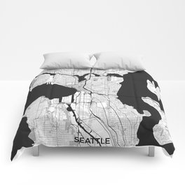 Seattle Map Gray Comforters
