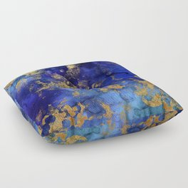 Gold And Blue Indigo Malachite Marble Floor Pillow