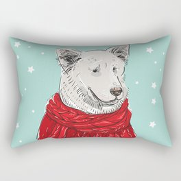 Merry Christmas New Year's card design White dog in a Christmas red knitted sweater. Shepherd Sketch Rectangular Pillow