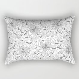 FLOWERS, PETALS AND HEARTS - GRAY Rectangular Pillow