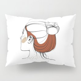 Red-haired woman with freckles. View from the back. Abstract face. Fashion illustration Pillow Sham