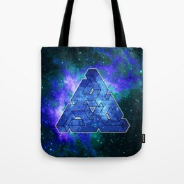 Triangle Blue Space With Nebula Tote Bag