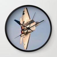 aviation Wall Clocks featuring Aviation F-22 Raptor Air Show USAF by Aviator