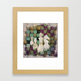Paint and Print  Chessboard and Chess Pieces Framed Art Print