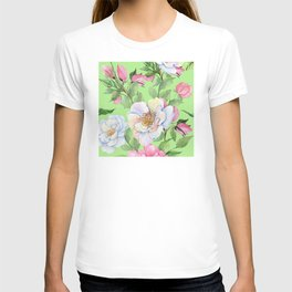 Vintage Floral Pattern: Pink Rose Buds and Elegant Flowers T-shirt