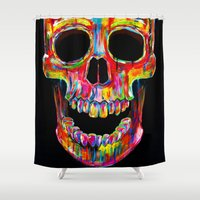 john Shower Curtains featuring Chromatic Skull by John Filipe