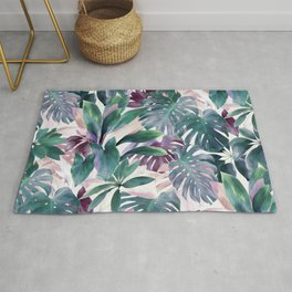 Tropical Emerald Jungle in light cool tones Rug