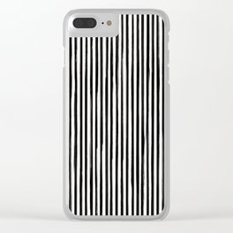 Skinny Stroke Vertical Black on Off White Clear iPhone Case