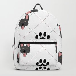 Black German Shepherd Paw Print Pattern Backpack