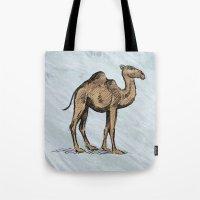 salt water Tote Bags featuring CAMEL - SALT WATER #2 by Agustin Flowalistik