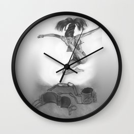 LIBERTE'! black and white Wall Clock
