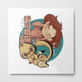 Sushi Chef Neko - Snow Shodou - Junpei and Anzu Design 1 Metal Print