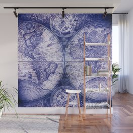 World Map Antique Vintage Navy Blue Wall Mural