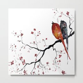 Birds Happy Singing Metal Print