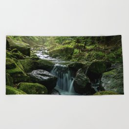 Flowing Creek, Green Mossy Rocks, Forest Nature Photography Beach Towel