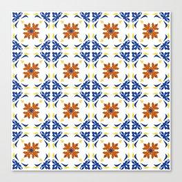 Talavera Floral Tiles Pattern Canvas Print