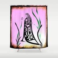 medicine Shower Curtains featuring Medicine Woman 1 by Lou-ann Neel Studio