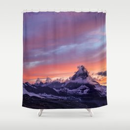 Himalayas Fishtail Mountain Sunset Shower Curtain