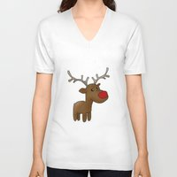 reindeer V-neck T-shirts featuring Reindeer by Iotara