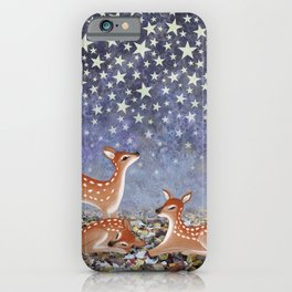 whitetail fawns under the stars iPhone Case