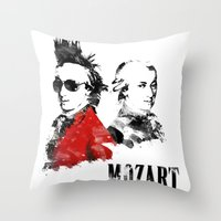 mozart Throw Pillows featuring Mozart Punk by viva la revolucion