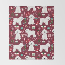 Bichon Frise Christmas dog breed pattern mittens stockings presents dog lover Throw Blanket