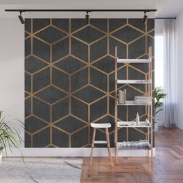 Charcoal and Gold - Geometric Textured Cube Design I Wall Mural