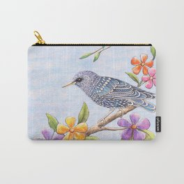 Starling Bird with Flowers Carry-All Pouch