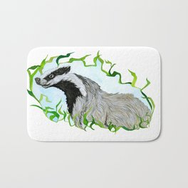 European Badger Watercolor Bath Mat