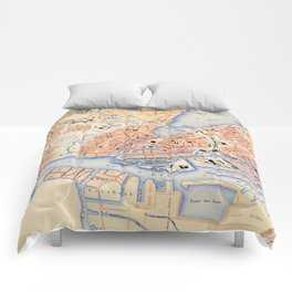 Vintage Map of Hamburg Germany (1888) Comforters