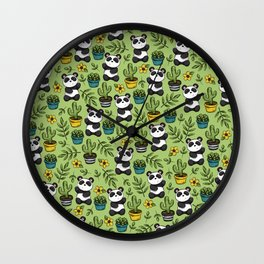 Little Panda Print, Baby Panda, Panda Bear, Boho Panda, Succulents and Flower Wall Clock