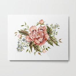 Pink Wild Rose Bouquet Metal Print