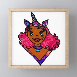 Black Girl Unicorn Framed Mini Art Print