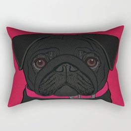 Icons of the Dog Park: Black Pug Design in Bold Colors for Pet Lovers Rectangular Pillow