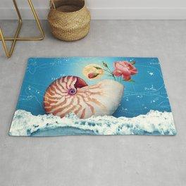 Fancy Nautilus Shell :: Fine Art Collage Rug