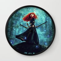 brave Wall Clocks featuring Brave by Juniper Vinetree