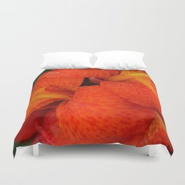 Orange Canna Lily by Teresa Thompson Duvet Cover