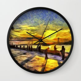 Sunset Fishing Istanbul Van Gogh Wall Clock