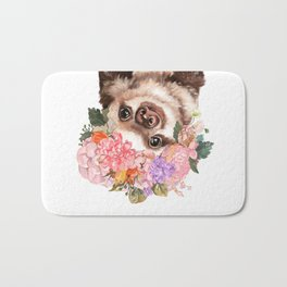 Baby Sloth with Flowers Crown in White Bath Mat