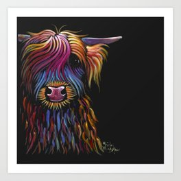Scottish Highland Cow ' FLoWER PoT ' by Shirley MacArthur Art Print