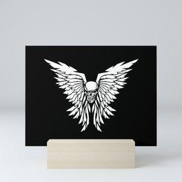 Classic Old School Skull Wings Illustration Mini Art Print