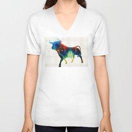 Bull Art Print – Love A Bull 2 – By Sharon Cummings Unisex V-Neck
