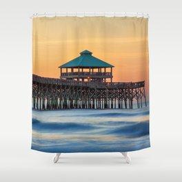 Folly Pier Sunrise Shower Curtain