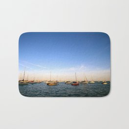 Lake Michigan Sailboats Bath Mat