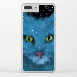 Space Cat Blues Clear iPhone Case