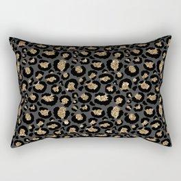 Black Gold Leopard Print Pattern Rectangular Pillow