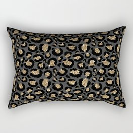 Black Gold Leopard Print Pattern Rectangular Pillow