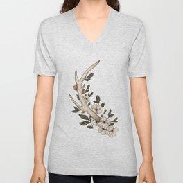 Floral Antler Unisex V-Neck