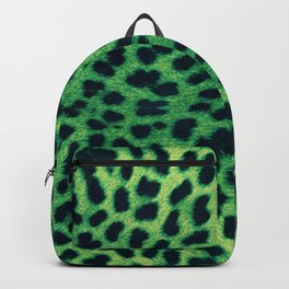 green cheetah print leopard pattern rockabilly pin-up burlesque rock n roll Backpack